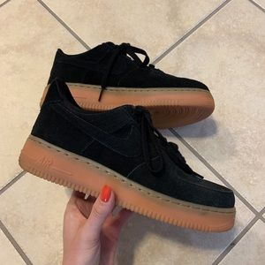 Nike AF1 Low Top Black Suede / Gum Sole. Women's 8